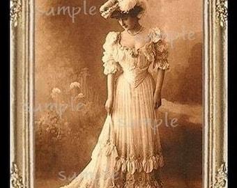 Vintage Victorian Lady Miniature Dollhouse Art Picture 1036