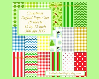 Christmas Digital Paper for Scrapbooking, Card Making, Gift Tags, Printable Holiday Paper Crafting, Instant Download
