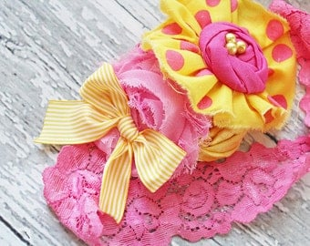 Pink Lemonade Pop- bright pink and yellow ruffle and rosette with chiffon flower headband