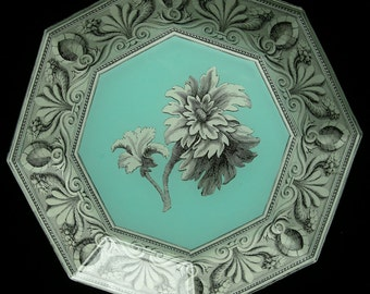 Turquoise Flower Decoupage Plate