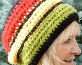 Original Slouchy Hat Rasta accessories ski clothing Women's fashion Crochet Hat