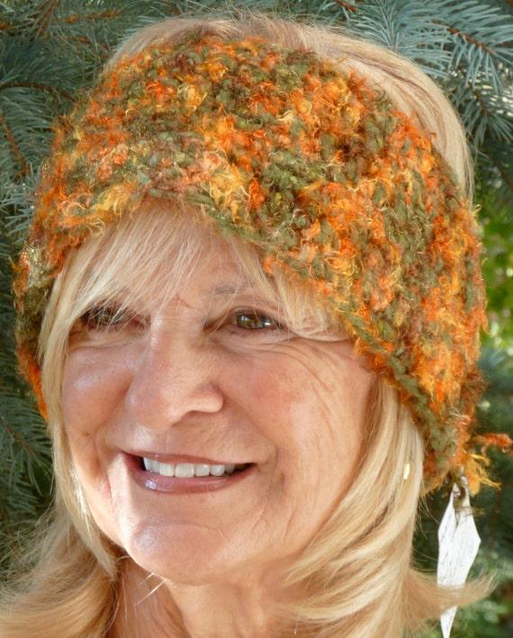 "Bohemian Accessories Orange Crochet Headband Unique Women Winter Clothing ""FREE SHIPPING USA"""