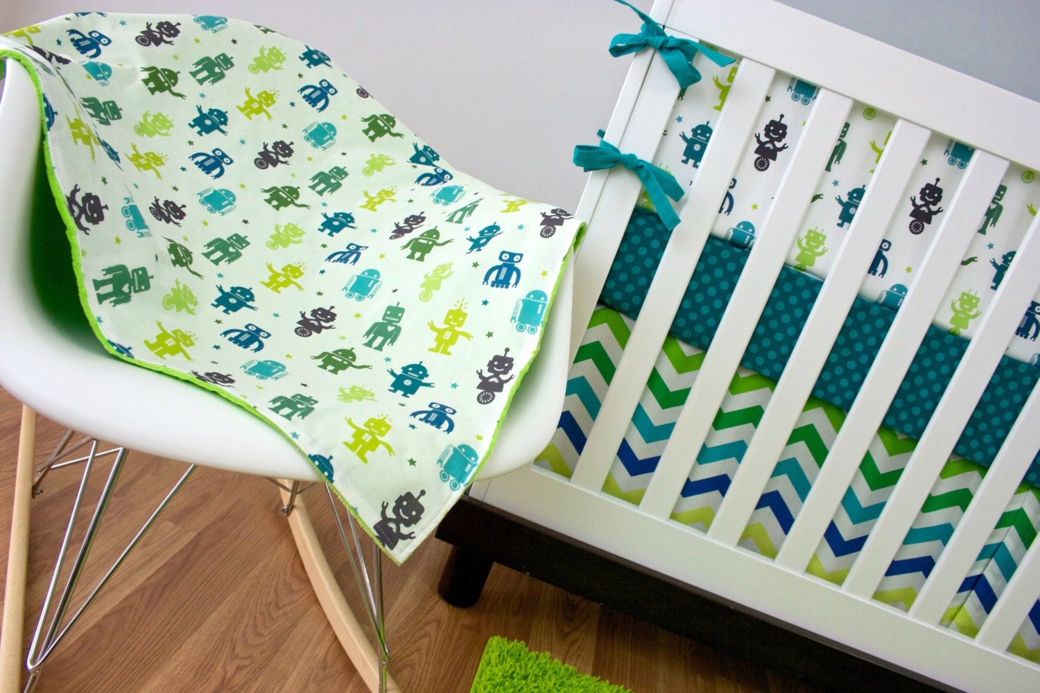Navy blue and lime green crib bedding - Navy blue and green bedding ...