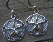 Sand dollar earrings in sterling silver