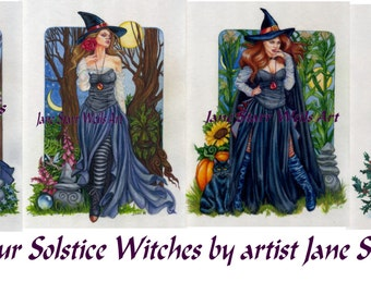 Set of all four Solstice Witches prints by artist Jane Starr Weils