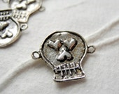 Oxidized Sterling Silver Link Connector Sugar Skull Day Of The Dead Dia De Los Muertos All Souls Day 15mm 17mm