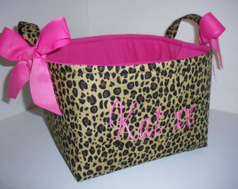 Large Diaper Caddy / Organizer Bin / Leopard Hot pink - Personalization Available