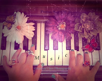 Piano Photograph, Photography, Piano Photo, Print, Whimsical, Flowers, Butterflies, Pretty Photo, Musician, Artist, Keys, Instrument, music