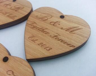 Custom Rustic Wedding Favors Wood Heart.