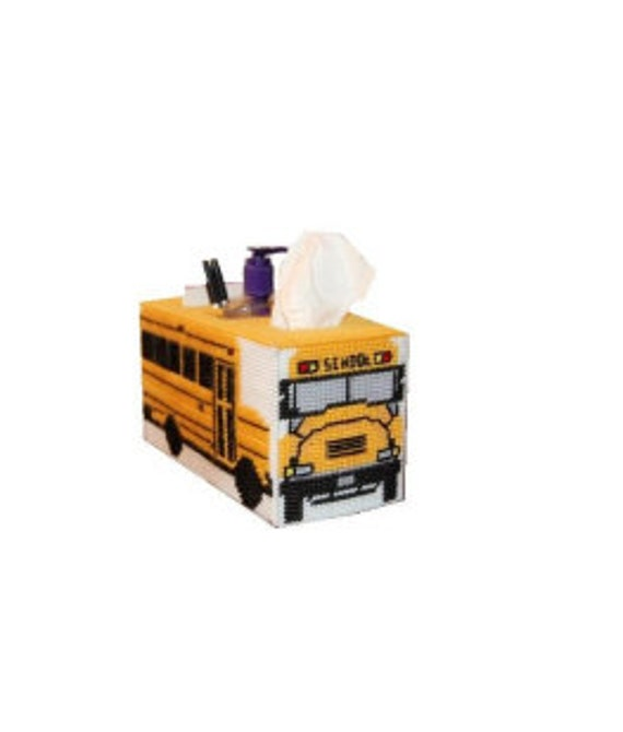 Plastic Canvas School Bus Tissue Topper/Organizer Plus Add On PDF Format Instant Download