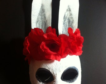 Rabbit Mask by Suzi Linden, White Rabbit Red Roses Masquerade