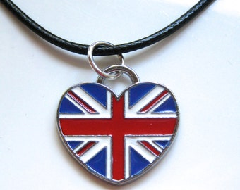 British Union Jack Flag Heart Pendant