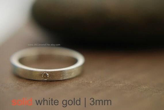Promotion - White Gold Diamond Wedding Band - 3mm Ring - Brushed or Polished Available - Engravable