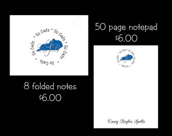 Personalized Kentucky Note cards or Note Pads...your choice