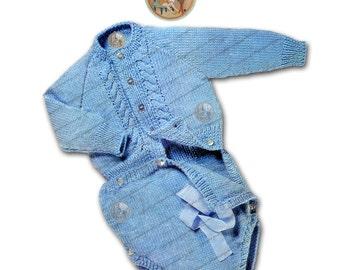 Vintage Knitting Pattern Onesie Romper Cardigan - PDF Instant Download Digital File - PrettyPatternsPlease