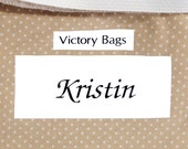 Personalized label with name, monogram, initials, or message attached inside bag - custom made tag for bridesmaid gift - MADE TO ORDER
