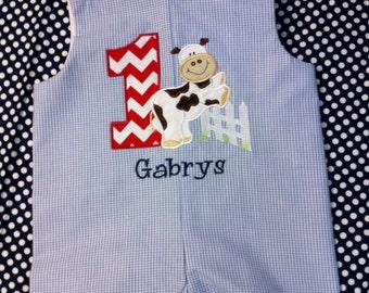 custom boutique childrens clothing John John boy birthday monogram applique