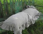 Ruffled Body Pillow Sham in Washed Linen---Pillow Sham with Long Ruffle Trim---Washed Linen Bedding---Body Pillow Sham---Ruffled Pillow Case