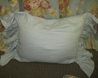 Pair of Side Ruffle Standard Pillow Shams - Washed Dove Linen - 2 Shams
