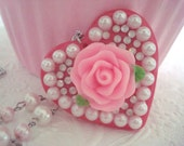 Heart Rose Pearl Pendant Necklace