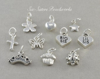 Add a Charm, Necklace, Bracelet, Sterling Silver, Chain, small pendant, baby, toddler, birthday necklace, personalized, tiny, small