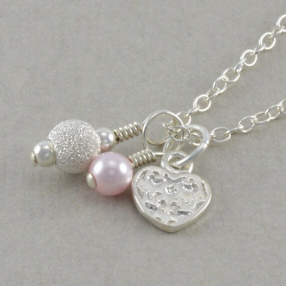 Heart Necklace, Sterling Silver, birthday necklaces, pink pearl, little girls gifts, flower girl necklace, childrens jewelry, COTTON CANDY
