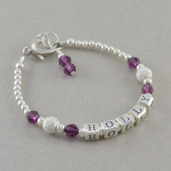 Baby Girl Gift Name Bracelet Sterling By SixSistersBeadworks