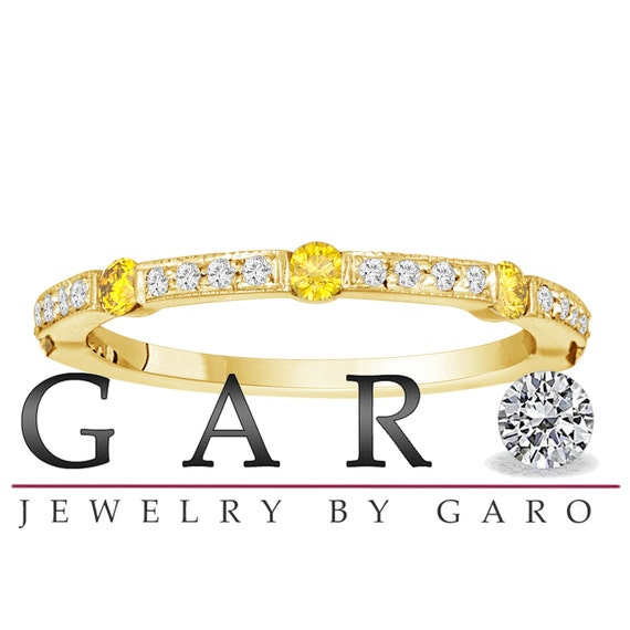 0.44 Carat Half Eternity 14K Yellow Gold Fancy Yellow & White Diamond Wedding Anniversary Band Canal And Pave Set handmade