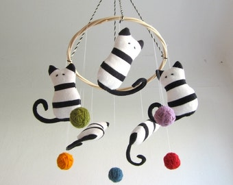 Crib mobile, cats, baby, kittens, black, white, colorful, nursery decor, shower gift, new baby, organic, eco friendly, cosy, stripes