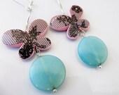 Breathtaking Black lace Butterfly Opalite Earrings