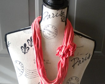 Jersey Scarf Necklace with Rosettes in Coral