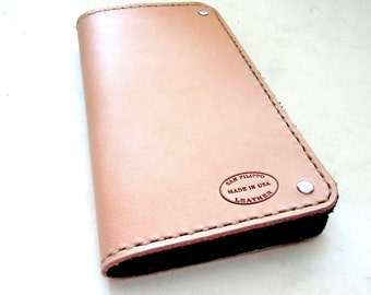 Men's Leather Wallet Undyed Natural Leather Long Wallet Coat Wallet Cool Wallet Mens Wallet Minimalist Wallet Third Anniversary