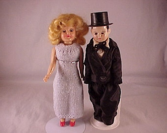 8 Inch Tall Plastic Bride and Groom Dolls