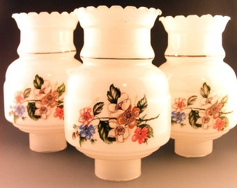Vintage Glass Lamp Chimneys Globes White Floral Ruffled Set of 3