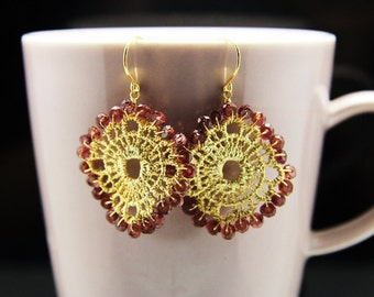 1pair(je-0257gg) - handmade earrings with natural rhodorite garnet,brass part and sterling silver hook plated gold