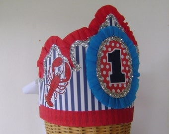 1st  Birthday Hat, 1st Birthday Crown, lobster hat, Adult or Child,  customize with any number or saying