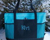 Personalized Embroidered Zippered Tote Bag - Great bridal parties, clubs, teams or add your own design