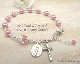 Pink Swarovski Pearl & Crystal Rosary Bracelet - Miraculous Medal