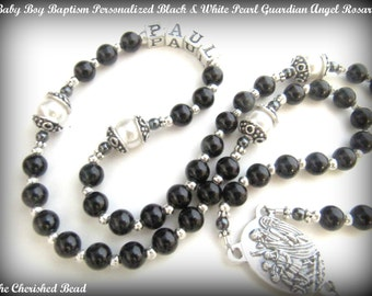 Baby Boy Baptism Black & White Pearl Guardian Angel Rosary