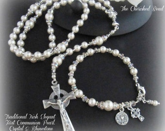 Beautiful Traditional Irish First Communion Pearl, Crystal and Rhinestone Rosary and Matching Rosary Bracelet