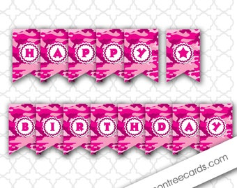Pink Camo Birthday Party Banner, hot pink camouflage happy birthday banner, instant download, girl camo birthday party decor, diy banner