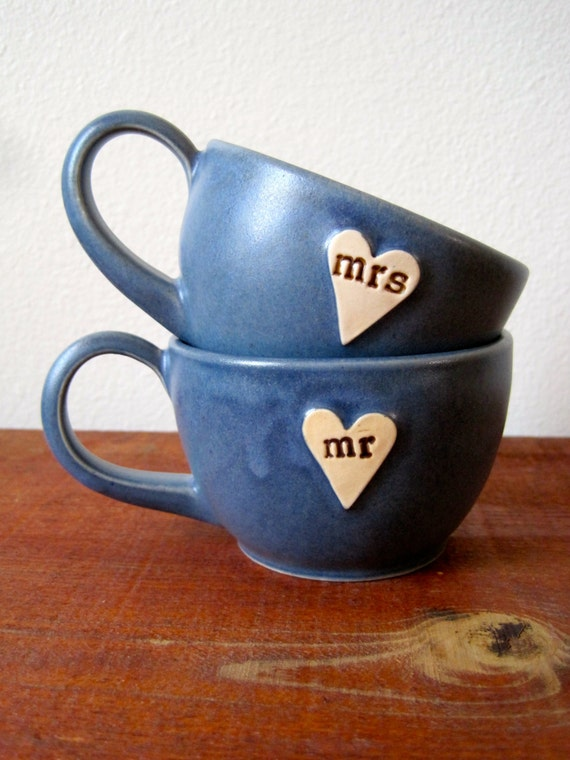 Newlywed Couple Mr. and Mrs. mug set In Stone Cold Blue Just married, Ready to Ship