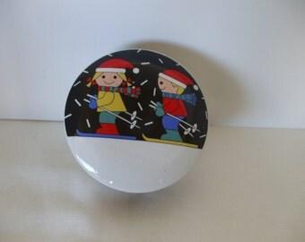 "Studio Nova ""Winter Skiing"" Porcelain Trinket Box,  Vintage,  Home Decor,  #4083"
