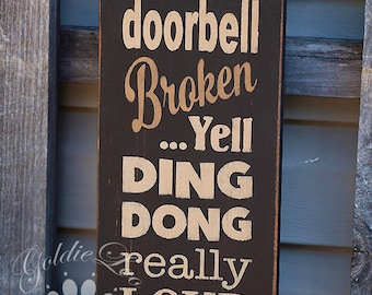 Ding Dong, Chalkboard Art, Typography,Word Art, Primitive Wood Wall Sign