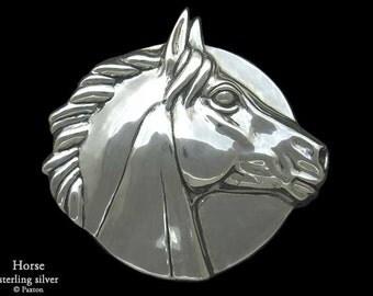 Horse Head Belt Buckle Sterling Silver or Yellow Brass