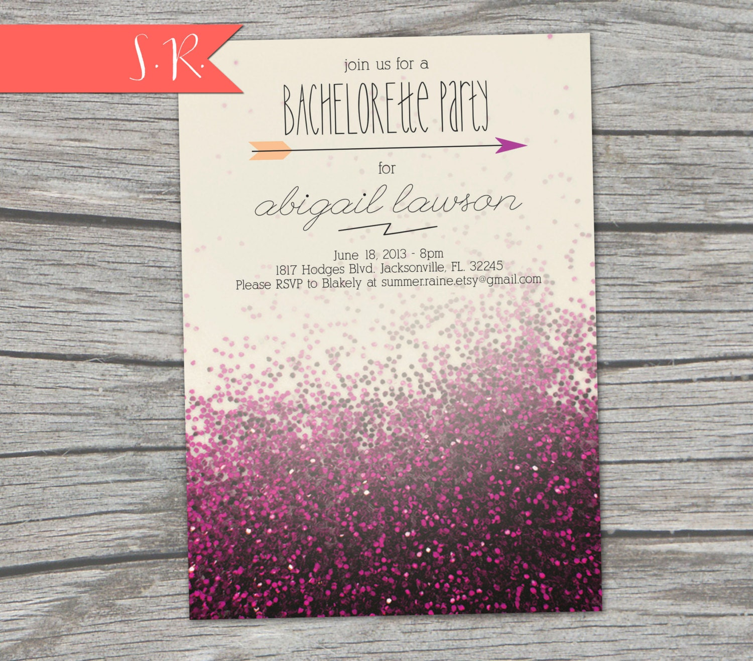 Glitter Bachelorette Party Invitation Digital