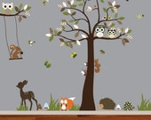 Children's forest wall decal tree,woodland nursery wall decal,tree decal,deer,fox,hedgehog,squirrel,bird and owl