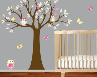 Children Wall Decals Tree with Owls and Birds Vinyl Wall Art