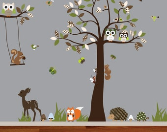Vinyl Wall Decal  woodland nursery wall decal,tree decal,deer,fox,hedgehog,squirrel,bird and owl