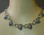 Vintage Aqua & Rose Rhinestone Necklace